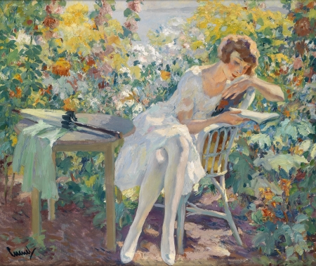 The letter - art, edward cucuel, painting, summer, white, pictura, woman, letter