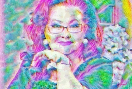 Stela Popescu - colorful, art, glasses, yellow, cehenot, abstract, woman, Stela Popescu, green, actress, painting, rip, portrait, pictura, pink, blue