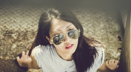 Woman with sunglasses - People, Woman, Girl, Pretty, Sunglasses