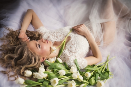 morning of the bride - curls, girl, bride, flowers, blonde, tulips