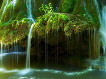 Water Flows Over Moss Covered Rocks - water, rocks, waterfall, moss, nature