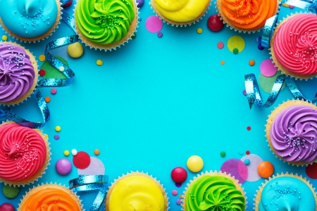 Happy Birthday! - colorful, food, frame, rainbow, birthday, sweet, card, cupcakes, blue