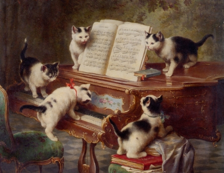 The recital - art, carl reichert, cat, piano, instrument, painting, kitten, pcitura, pisica