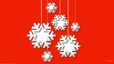 3D Snowflakes - snow, three dimensional, holiday, Firefox Persona theme, cut out, red, snowflakes, 3D