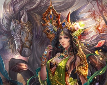 Dark queen - art, frumusete, fan yang, luminos, orange, jiuge, horse, fantasy, girl, green, dark queen