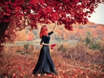 Redhead Picking Autumn Leaves
