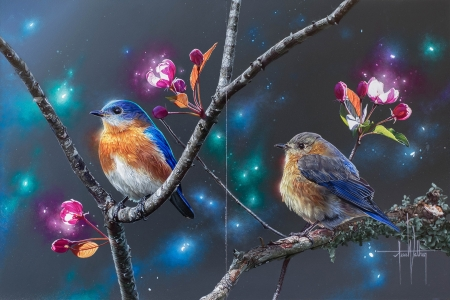Eastern blue birds - art, jess wathen, luminos, orange, pasare, blue bird, branch, fantasy, eastern, pink, couple, blue