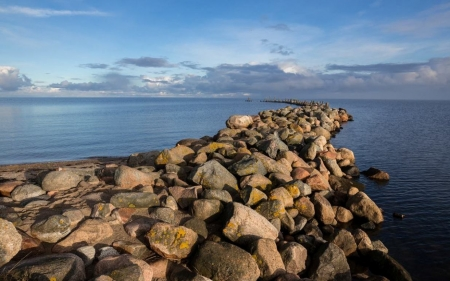 Breakwater in Engure, Latvia - Latvia, breakwater, rocks, sea