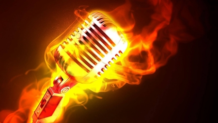 flaming microphone - fire, flames, flaming, microphone