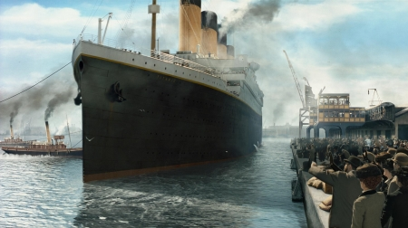 titanic - ocean, people, ship, titanic, wharf