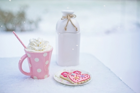 Hot Chocolate - Love, Pink, Bottle, White, Heart, Hot, Chocolate