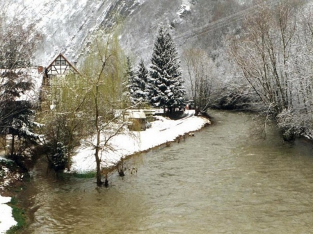 Winter River - cottage, snow, winter, mountains, trees, river, nature