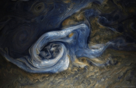 Juno Spots a Complex Storm on Jupiter - cool, planet, space, Jupiter, fun