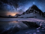 Mountains in Starry Winter Night