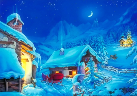 Winter wonderland - art, houses, wonderland, beautiful, sky, winter, mountain, moon, snow, painting, cevered, village