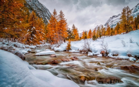 End of autumn - snow, stream, fall, winter, creek, river, mountain, autumn, hills, beautiful