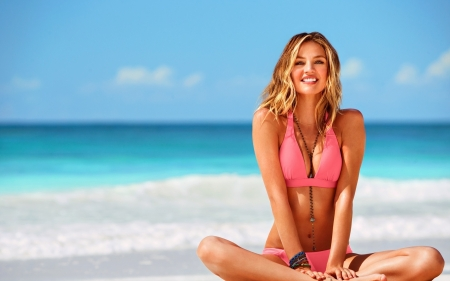 Candice Swanepoel - swimsuit, model, blonde, woman, sea, beach, girl, summer, pink, Candice Swanepoel, blue