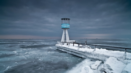 Winter Lighthouse - cold, winter, sky, sea, lighthouse, nature