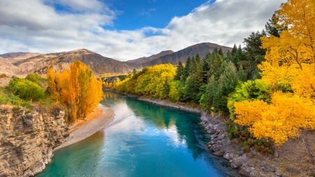 Emerald River,Queenston,New Zealand - forest, mountains, clouds, river, trees, nature