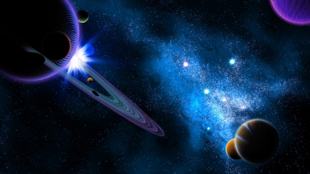 Planetary Space - planets, stars, 3d, galaxies, digital art, space