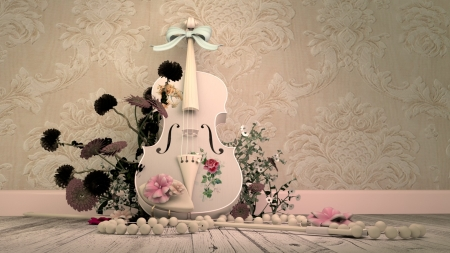 Violin - pink, rose, necklace, instrument, white, flower, alrun steiner, pearl, violin