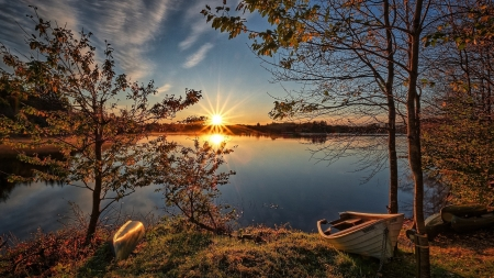 Autumn Sunset - sky, sunset, trees, lake, nature, autumn