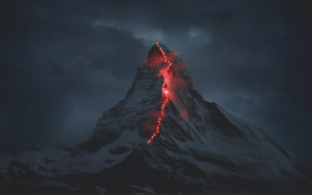 Mountain with Trail Lights - with, Trail, Mountain, Lights