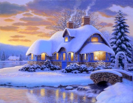 Briggs Corner 2 - villages, Christmas, cottages, holidays, bridges, love four seasons, attractions in dreams, xmas and new year, winter, snow, winter holidays, rivers