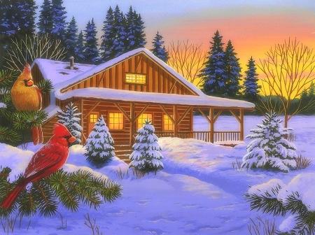 Cozy Cabin Winter Nature Background Wallpapers On Desktop Nexus Image 2331362