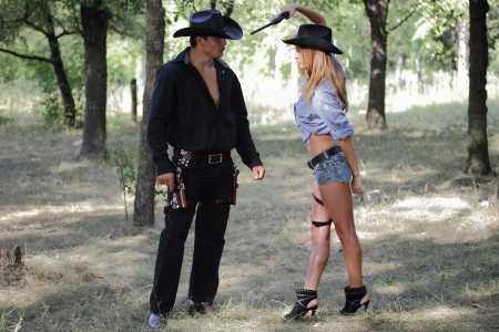I'm Serious . . - hats, boots, models, ranch, NRA, pistols, fun, western, women, cowboy, female, blondes, cowgirl, outdoors, holsters