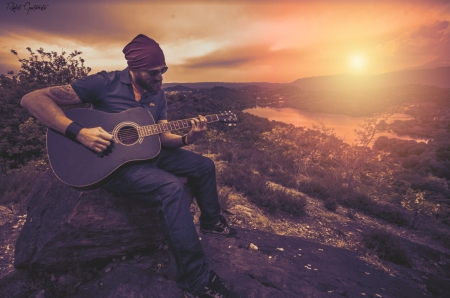 Sunsets Guitar - Sad, Photography, Autumn, Sunsets, Nature