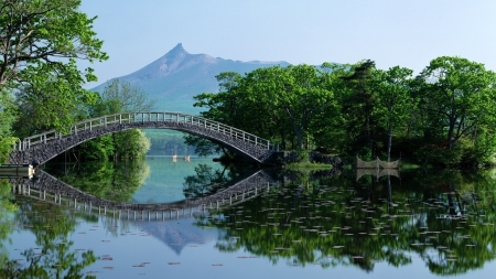 Perfect Reflection - forest, japanese, lake, hokkaido, japan, bridge, nature, reflection, scenery