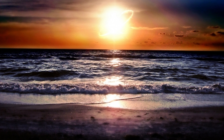 Beach Waves During Sunset - beach, ocean, nature, sunset, waces