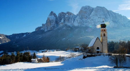 South Tyrol, Italy - landscape, snow, winter, sky, sunshine, chapel