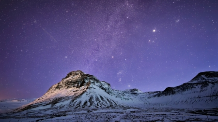 Starlit night - monuntain, North, sky, winter, snow, wallpaper, nature, stralight, lanscape, scene, star