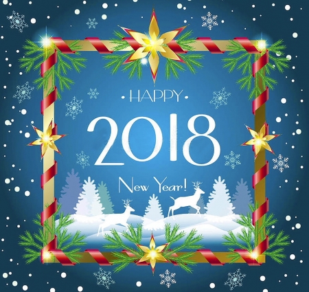 happy new year 2018 brand colorful beautiful deer wallpaper