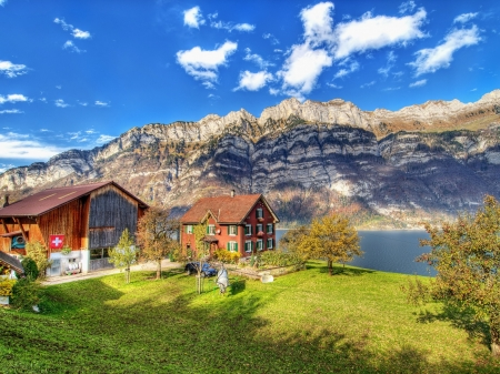 The Cabin in the Mountains - mountains, nature, river, cabin, clouds