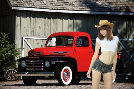 Cowgirl Lena Anderson and a Vintage Merc