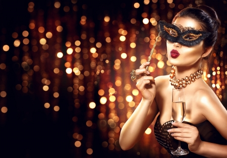 Beauty - model, golden, black, new year, woman, anna subbotina, glass, girl, hand, mask