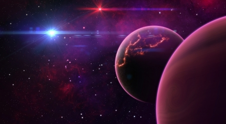 Planets - stars, fantasy, planet, purple, space, pink