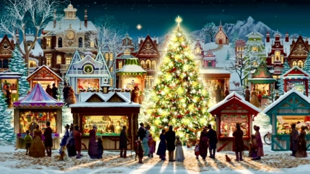 Christmas spirit - pretty, colorful, christmas tree, beautiful, magic, sweet, city, people, color, evening, amazing, lovely, christmas, houses, colors, night lights, merry christmas, peaceful