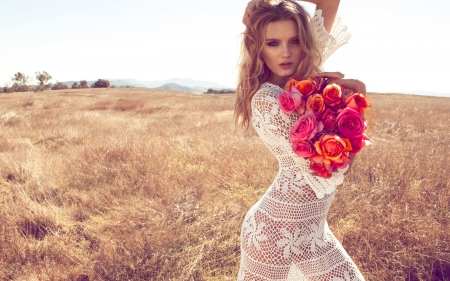 Model With Roses - blonde, lovely, sexy, Model, femininity, outdoors, roses, beautiul
