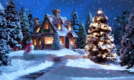 Down The Chimney - cottage, snow, winter, santa, artwork, painting