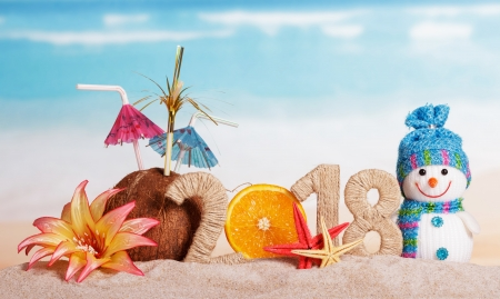 Merry Christmas and Happy New Year! - craciun, christmas, coconut, umbrella, new year, snowman, 2018, beach, exotic drink, flower