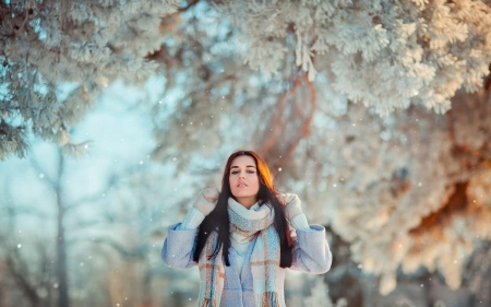 Pretty at winter - pretty, snow, girl, winter
