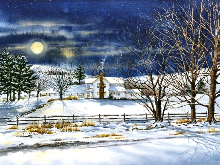 Full Moon Rising FC - architecture, art, farms, beautiful, illustration, artwork, winter, snow, painting, wide screen, four seasons, scenery, landscape
