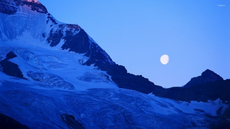 Moon Above the Blue Mountains - snow, winter, moon, mountains, nature