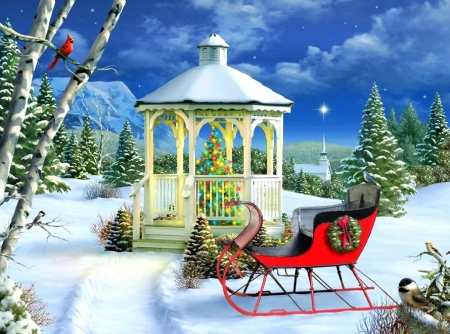 Season of Peace - sleigh, stars, Christmas, holidays, Christmas Tree, love four season, attractions in dreams, xmas and new year, winter, cardinals, snow, winter holidays, gazebo