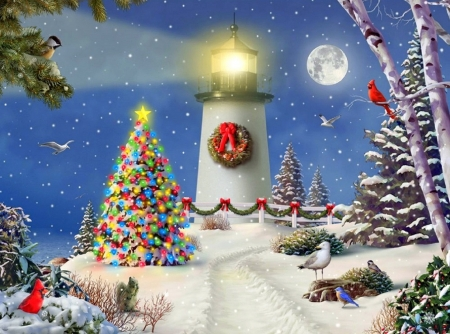 Coastal Holiday Lights - snow, winter, attractions in dreams, Christmas, holidays, birds, love four season, winter holidays, Christmas Tree, moons, xmas and new year, cardinals, coastal, lighthouses