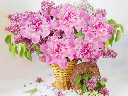 LILACS AND PEONY'S - LILACS, FLOWERS, PEONYS, PRETTY